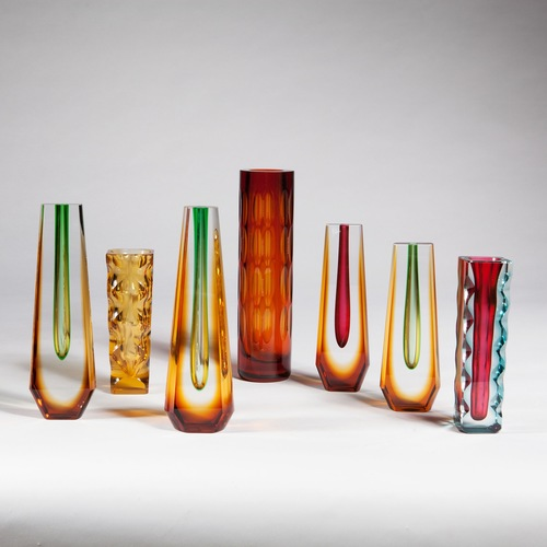 A Group Of 7 Bohemian Glass Vases Woodham Smith