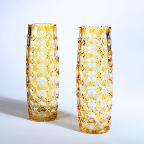 A Pair Of 1000 Eye Bohemian Glass Vases Woodham Smith