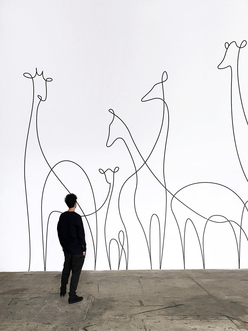 Single line animals giraffes mural by one line artist duo DFT (aka Differantly)