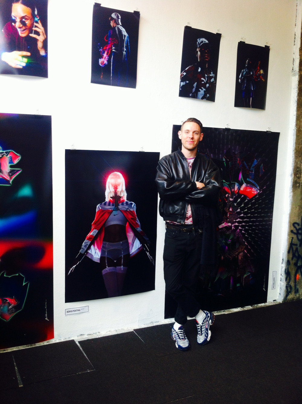 Photo by Tosca Rundholz.    In front of my work at the Gabber Expo in Paris. Complete series will be online soon.