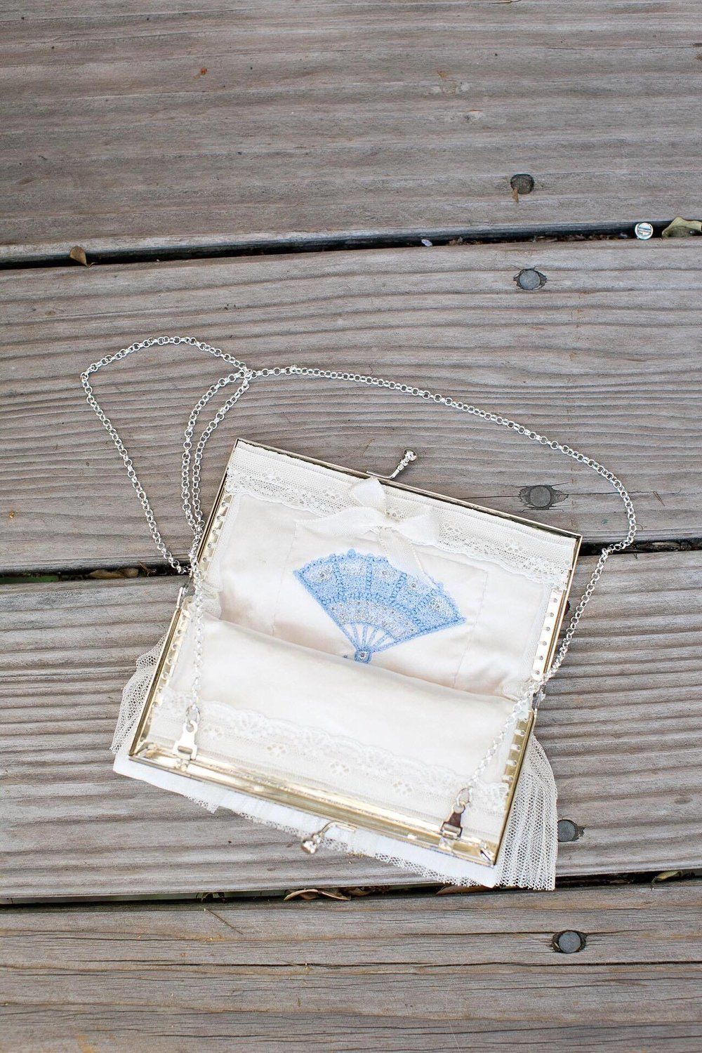 Something old .... the lace.  Something new .... the bag itself.  Something borrow ... the gorgeous handkerchief that went into it.  Something borrowed ... the blue fan design.