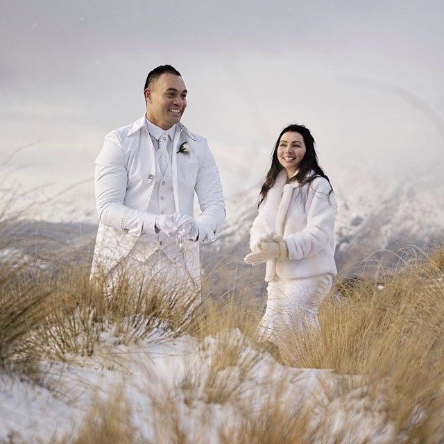 Right up in the snow - Kristie and Jerry by Sunshine Weddings.