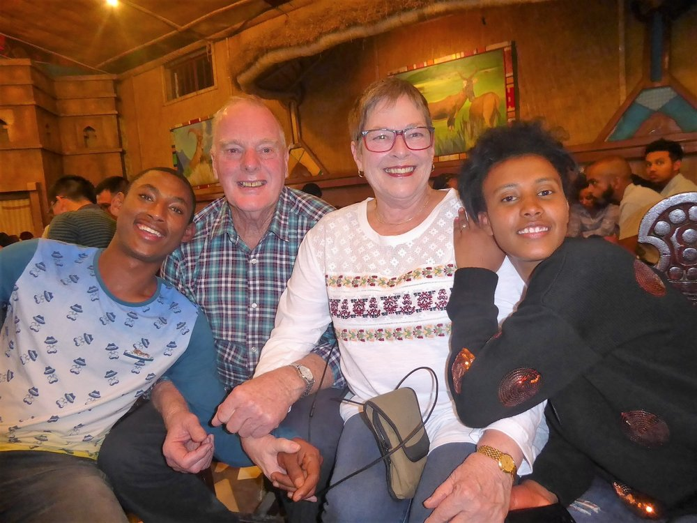Visiting an Ethiopian traditional restaurant with the kids and staff