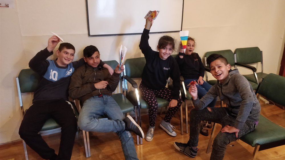 Young people ready for their Paper Aeroplane Competition
