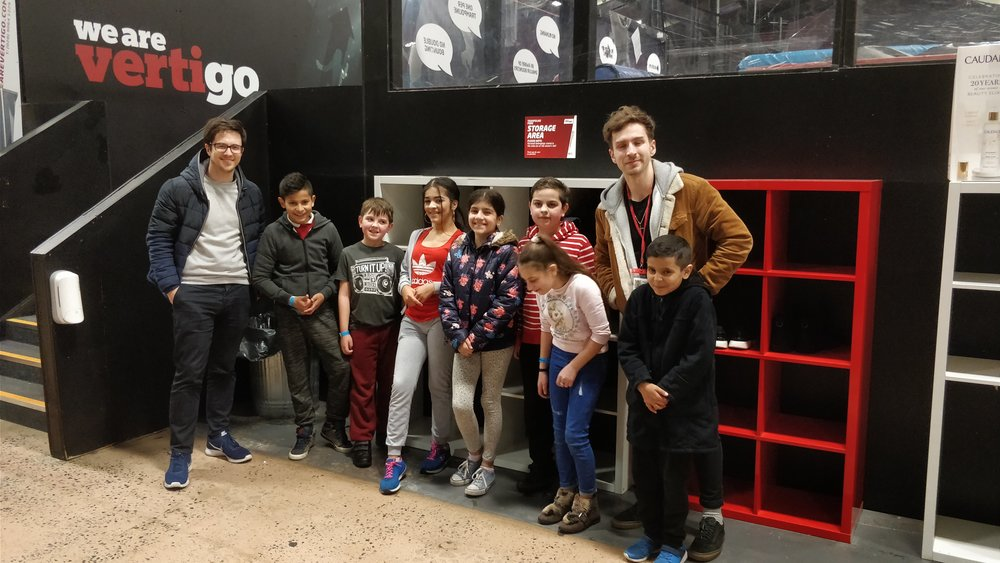 Young people at trampoline park
