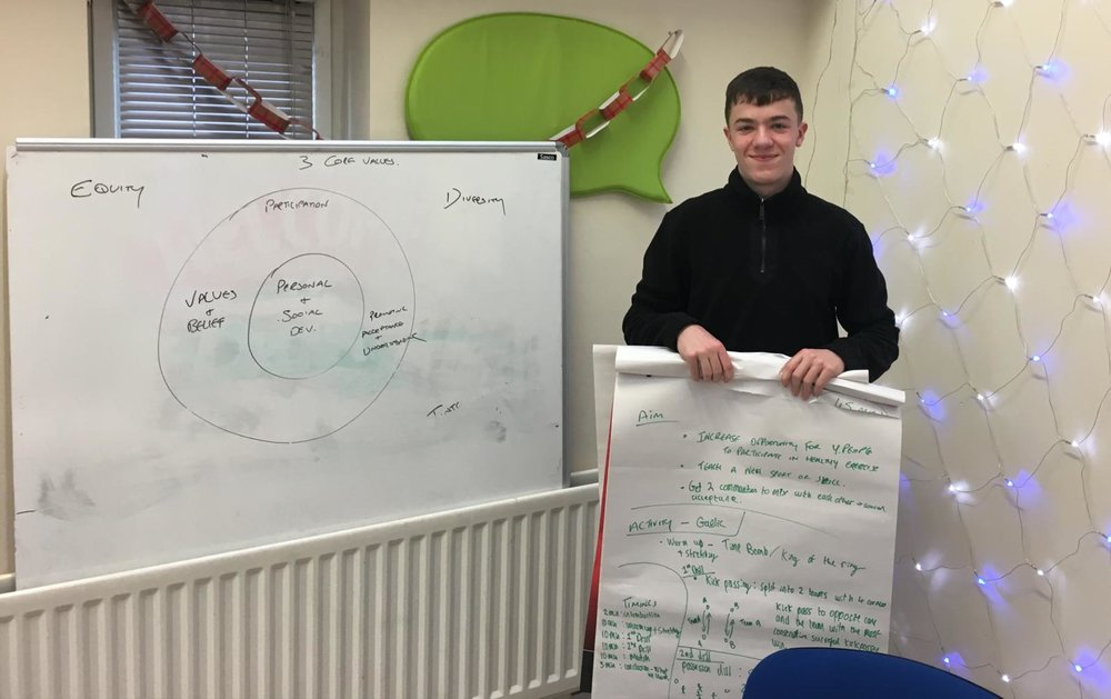 Eamon learning how to plan a learning workshop for young people