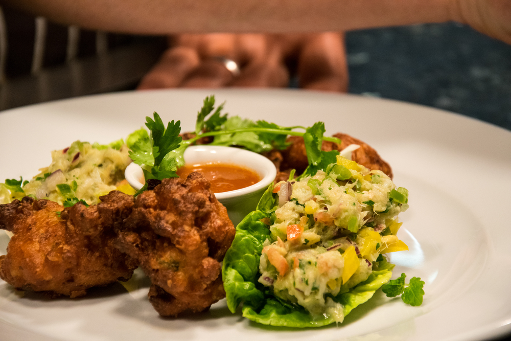 TNQ - Caribbean Carnival - Fried Corn Cakes & Hot Sauce - Salt Fish Buljol Lettuce Cups (1).jpg