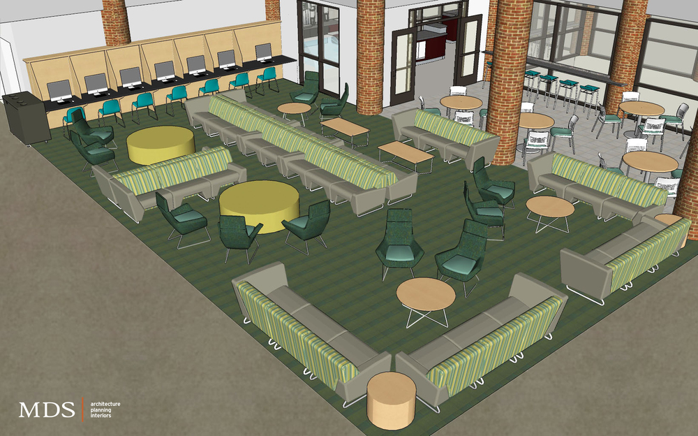 Above is an image showing the layout of the furniture for the area outside Burgess Cafe.
