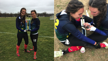 On the left photo, the two co-captains, Georgiana Ager '17 (left) and Megan Macomber '17 (right) hold the first place trophy