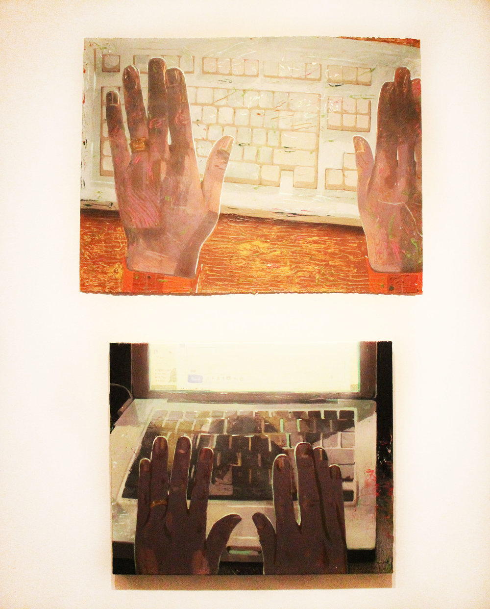 Top:  Keyboard;  Flashe, acrylic on paper; 2015  Bottom:  Correspondence at Night;  Flashe and acrylic on canvas; 2016