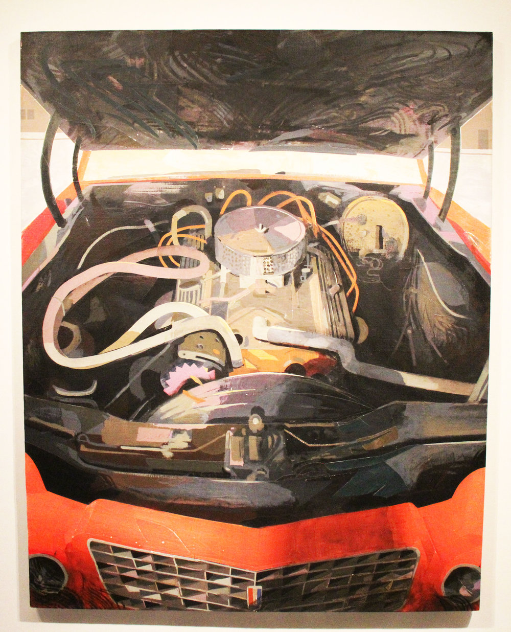 Engine;  Flashe, acrylic and collage on linen; 2015