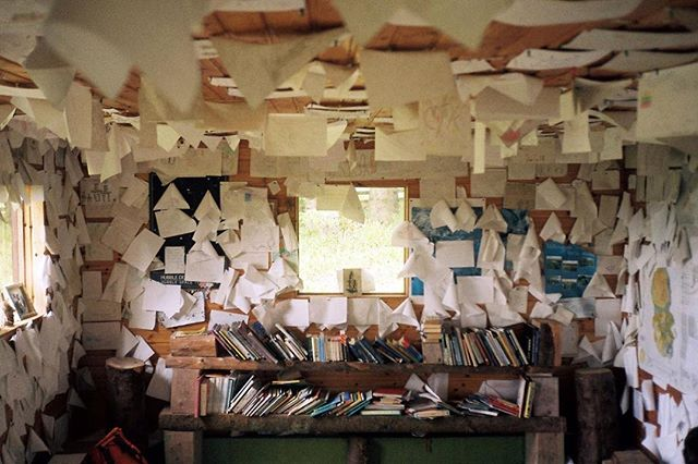 Inside the turf-roofed Eas Mor ecology library, built using trees felled during a storm in 1998. Chapter 1. Isle of Arran