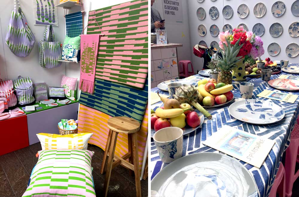 Laura Spring's booth (left) and Granby Workshop's 'splatware' (right)