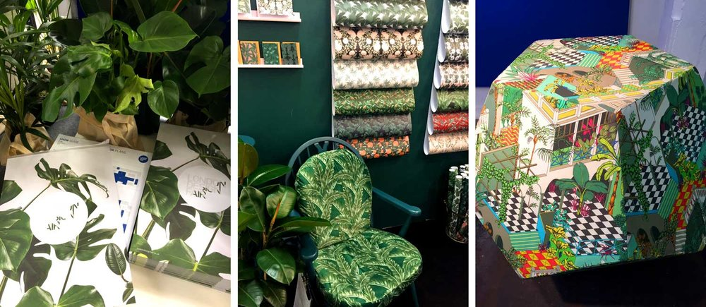 Tropical leaves - on the festival map (left), in pots all over the show, on the classy display at the Tuppence Collective booth (middle) and in the Cole & Son 'Fabric Fantasia' installation.