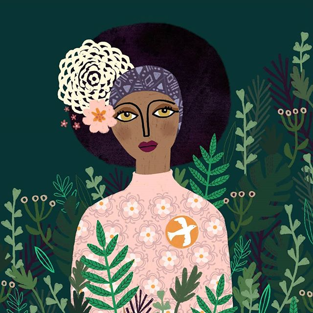 Happy Monday!  Portrait by artist Laurence Lavallee @akaflo_  #drawingpeople #portraitillustration #illustration #afrogirl #womanwhodraw #urbanjungle #plants  #fashionillustration #womanplants #editorial #laurencelavalleeakaflo #finchandfoxglovefb