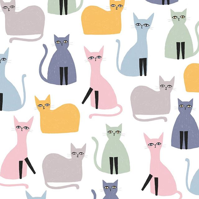 For all the cat lovers out there! Pattern by Laurence Lavallee @akaflo_ 🐱💕 #catsillustration  #chats #cats #childrenillustration #kidsprints #surfacepattern #motifimprimé #animalillustration #catslovers #printandpattern #print #artlicensing #surfacedesigner