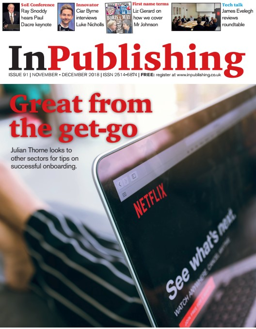 Successful onboarding makes the front cover of InPublishing magazine
