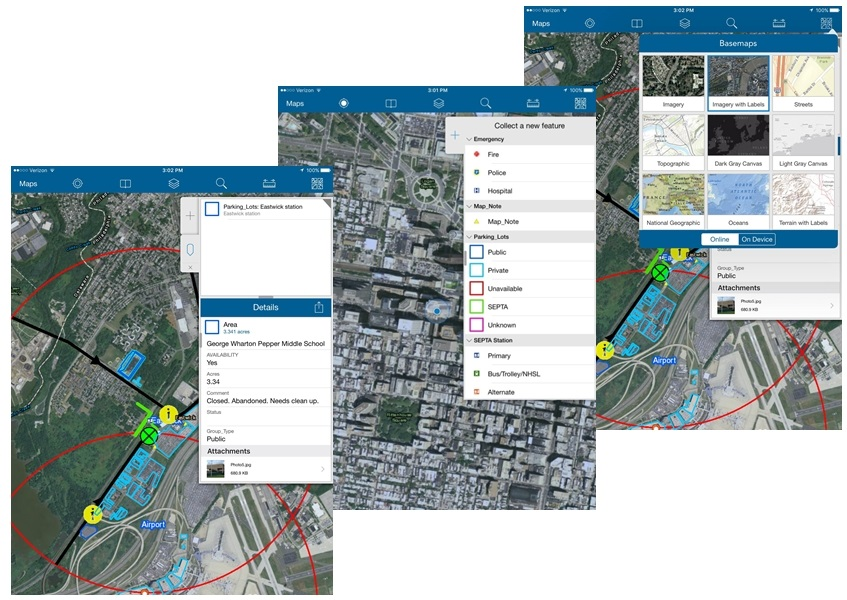 Photo: Example of field data collection using ESRI Collector Application.
