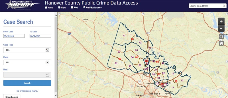 Shown above, GeoDecisions deployed a Hanover County Sheriff's crime statistics mapping application in 2015. Moving forward, Hanover County is considering additional GeoDecisions GIS applications to help with capital improvement planning.