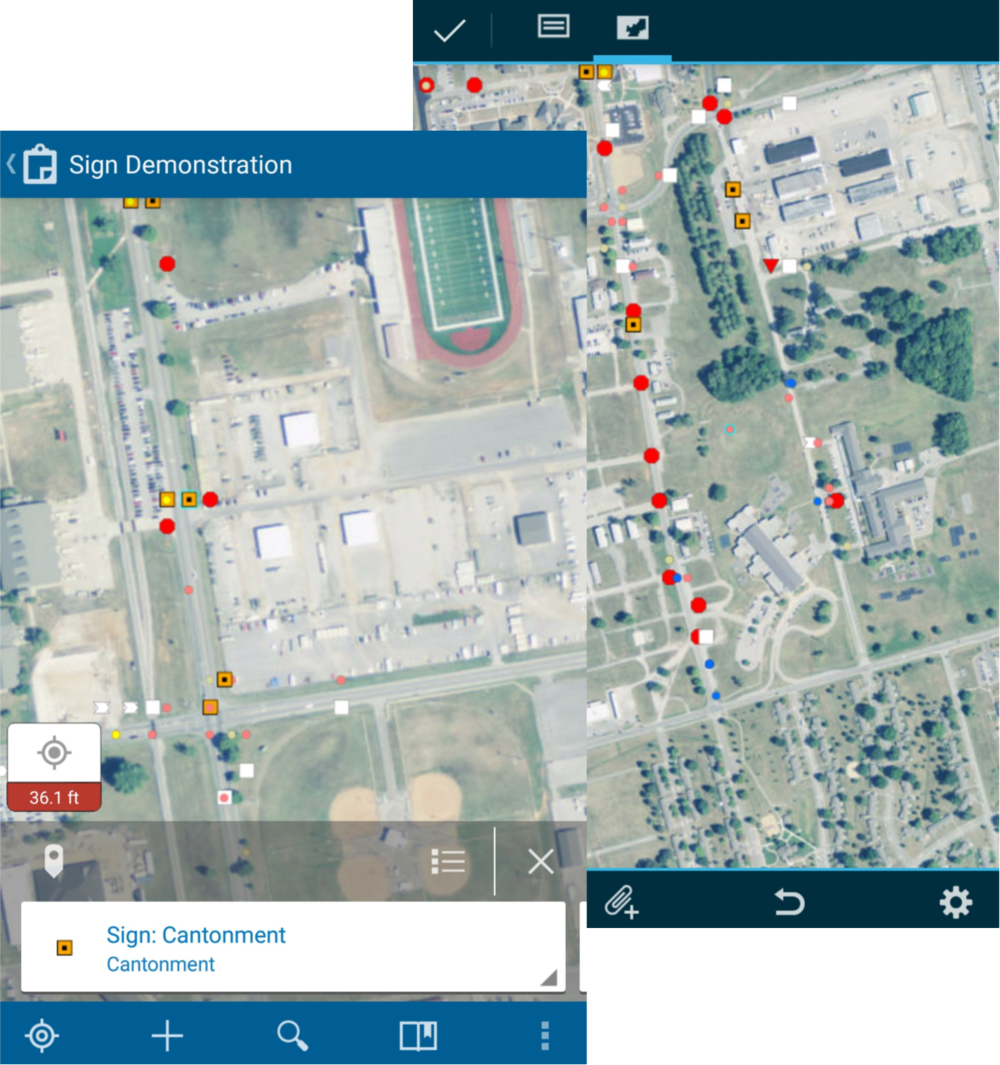 Screen shots of Esri Collector from mobile device.
