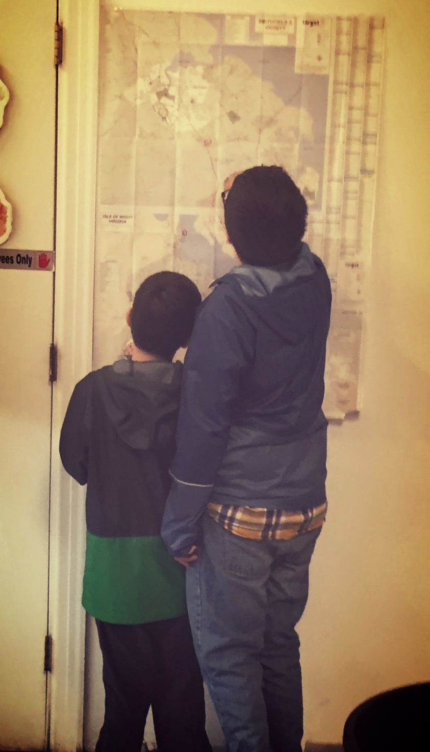 Wesdock's son's, Jack (left) and Noah (right) navigating maps.