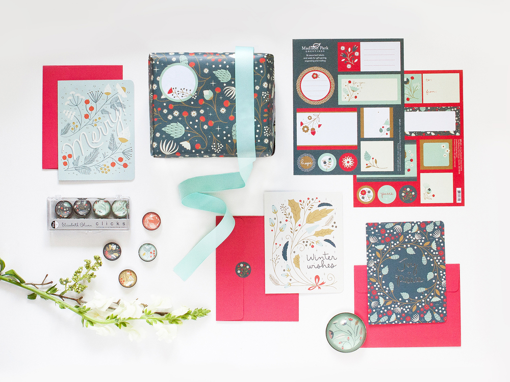 Holiday cards, wrap and labels   Ask at your local stationery shop
