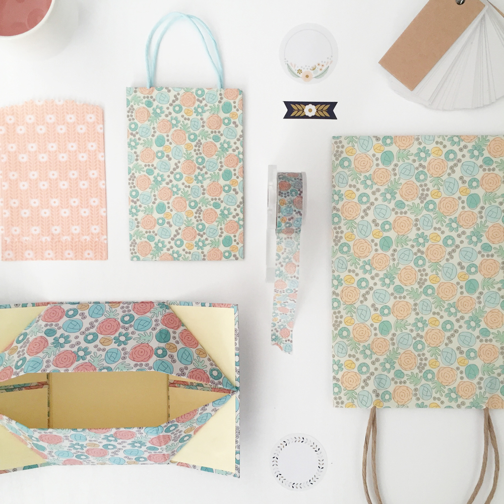 More washi, gift bags and boxes… I love when things match and coordinate.