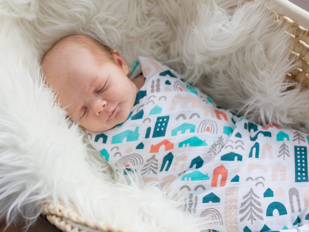 Muslin swaddling blanket   > View on the Lulujo website