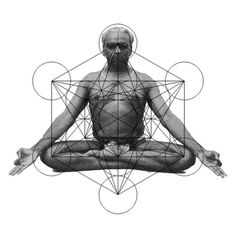Guruji B.K.S. Iyengar in seated meditation, sacred geometry of chakra energy system.