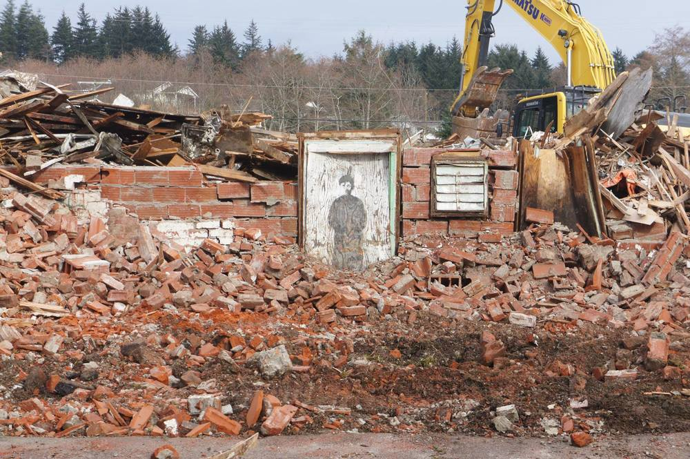 Demolition of the St. Michael's Residential School in Alert Bay, BC. Photo by Trevor Isaac, Kwakwaka'wakw