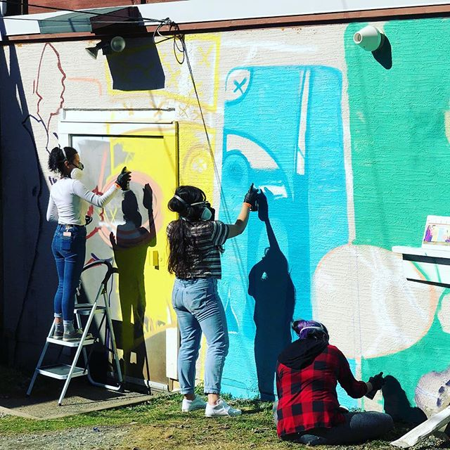 We are excited for Day 2! These youth will finish this mural with @a.vandalay for @gatheringourvoices 2019