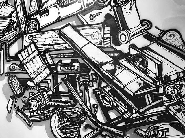 #sneakpeek of Raven Mural coming together! Thx @charlinomob #graffiti #artist #nola #ravenpmg #custom #fabrication #production #art #architecture