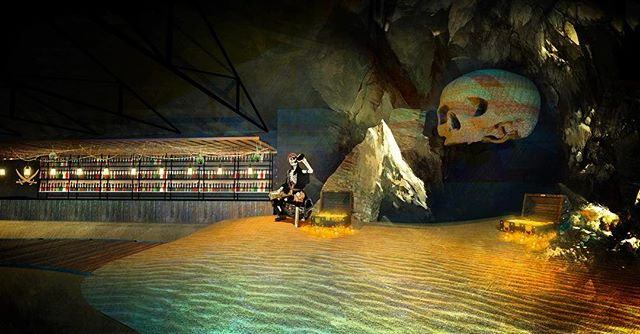 """#tbt Pirates Revenge 🐊☠️ @halloweennola 2016 - Rendering of the """"Skull Cave Photo Booth"""" at the @cacnola #rendering #3D #design #architecture #photoshop #nola #halloween #event #show #party #custom #fabrication #production #light #audio #props #projection #ravenpmg"""