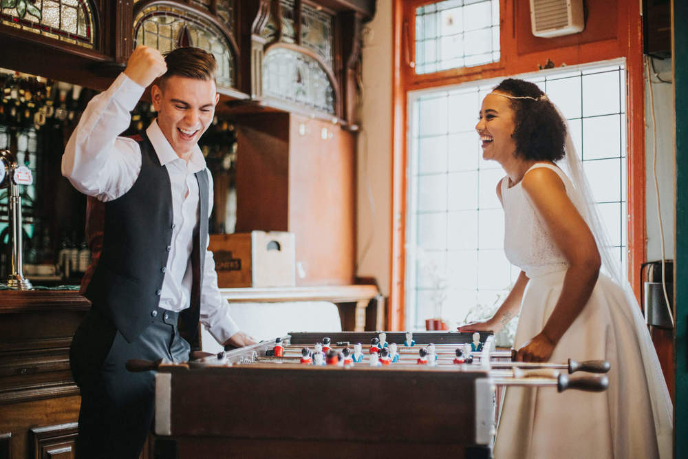 'Winning!' - 'Peveril of The Peak Pub' Manchester Wedding Photography