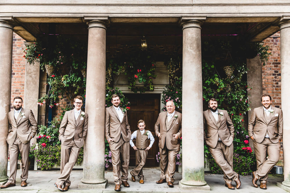 groomsmen portrait at pillars