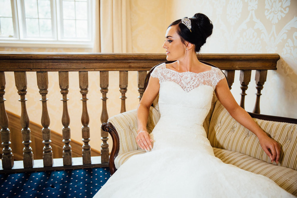 bride portrait on chair