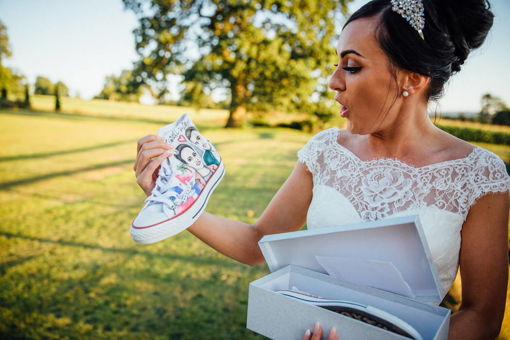 bride receives wedding gift