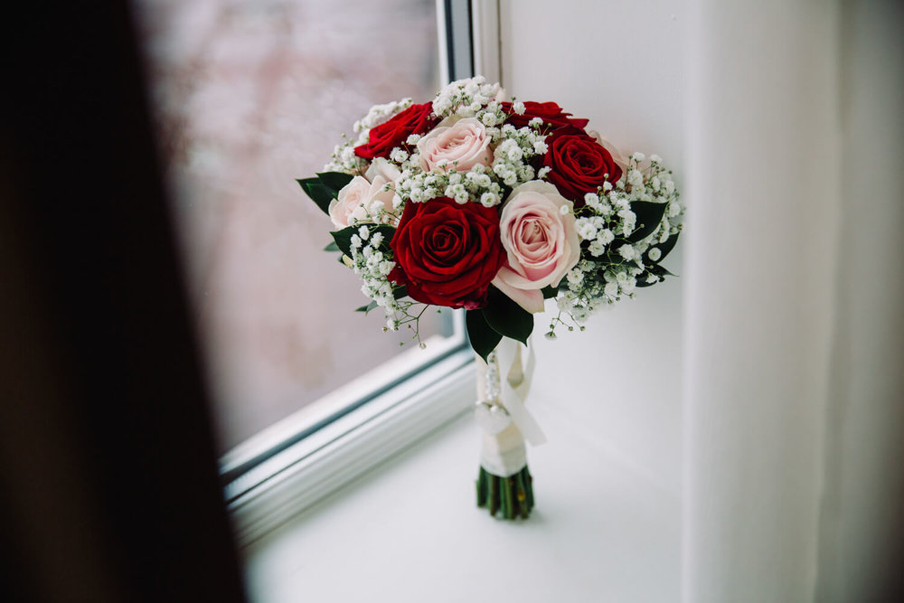 Bridal Bouquet in window of preparation room