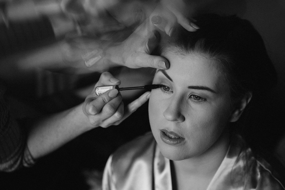 close up of bridesmaid make up
