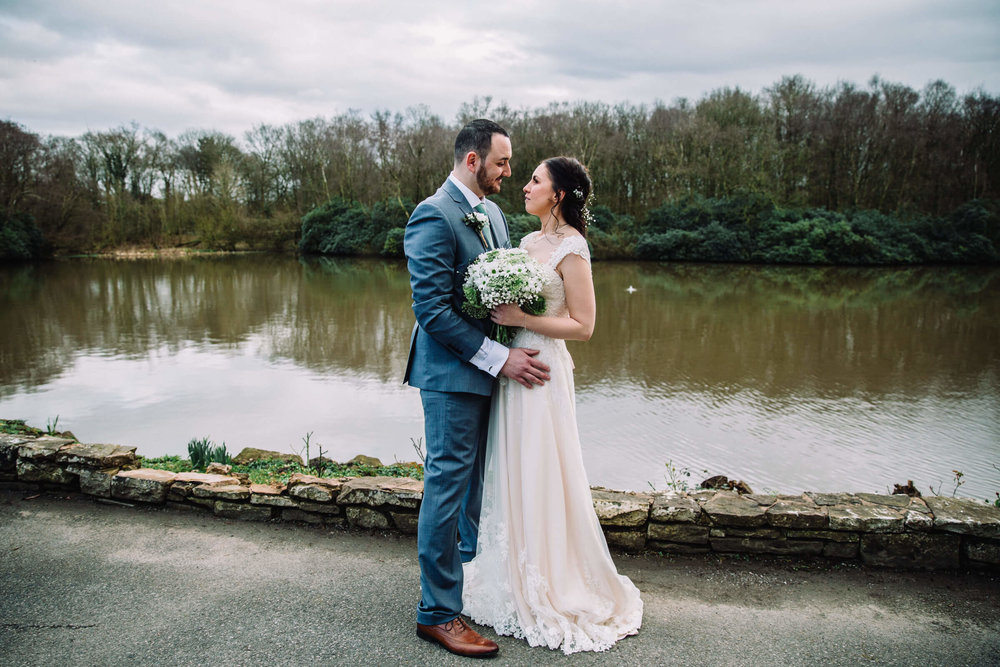 gorgeous bethany hannah bridal dress for lakeside portrait