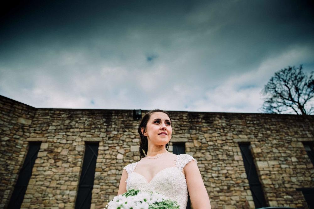 bridal skyline portrait in carpark