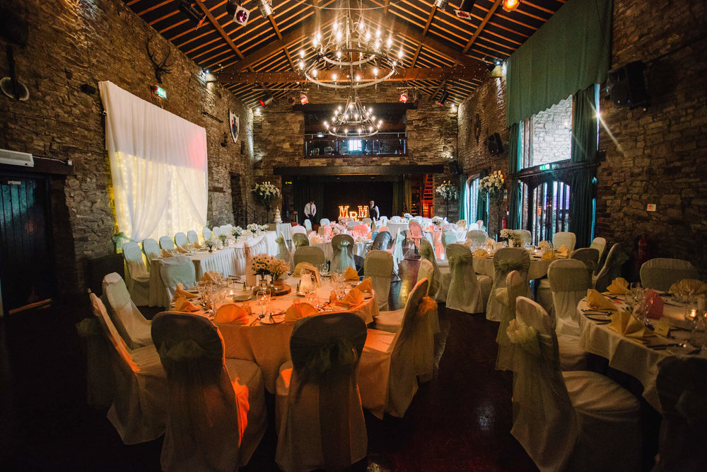 wedding breakfast room prepared for guests