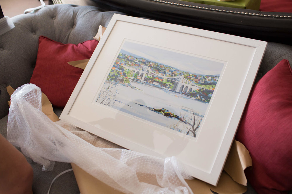 painting of the Menai bridge as a present for Frances