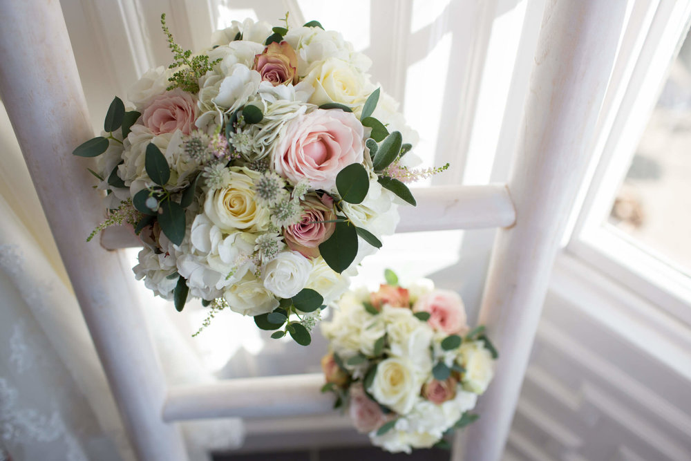 wedding flowers and bouquets by window