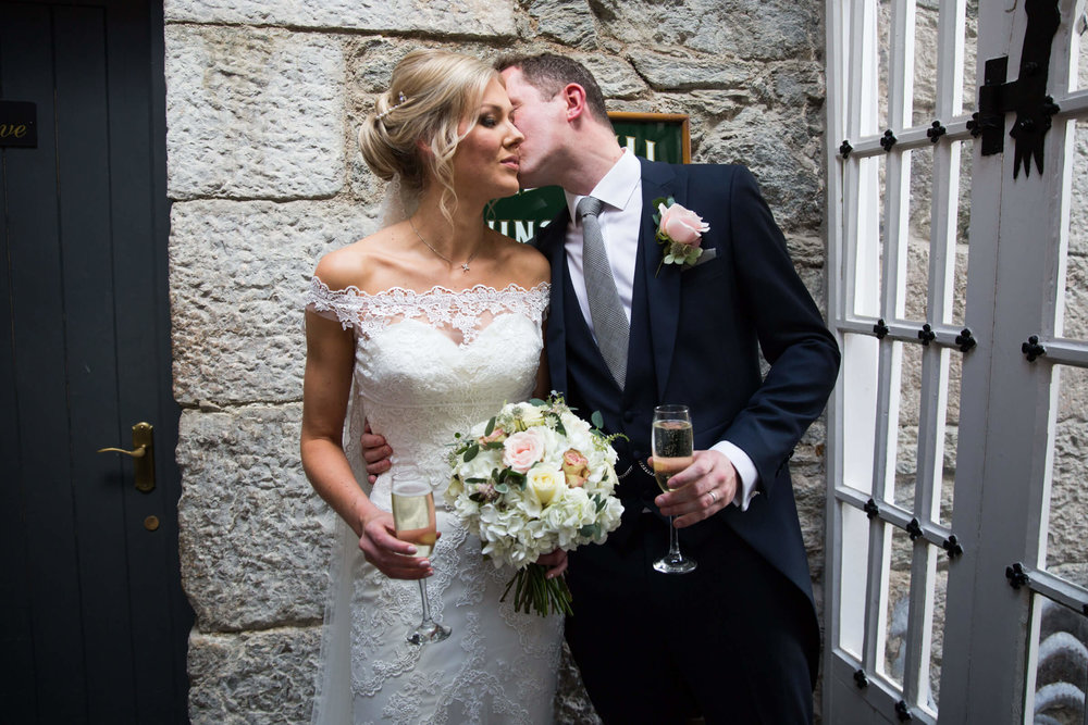 champagne was in full flow and a newlywed kiss