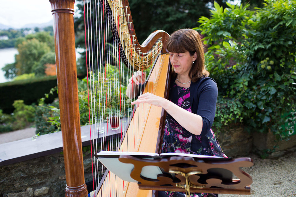 harpist playing music to the guests at the wedding