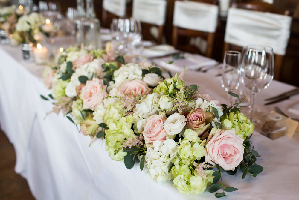 top table flowers of pink and green