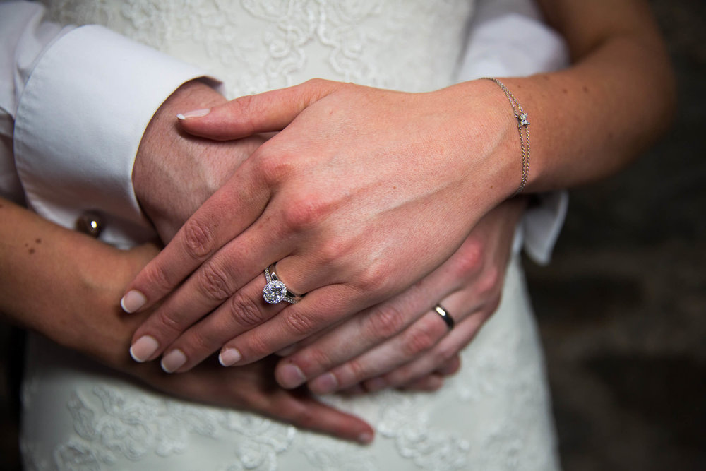 close up photograph of the wedding rings with hands held