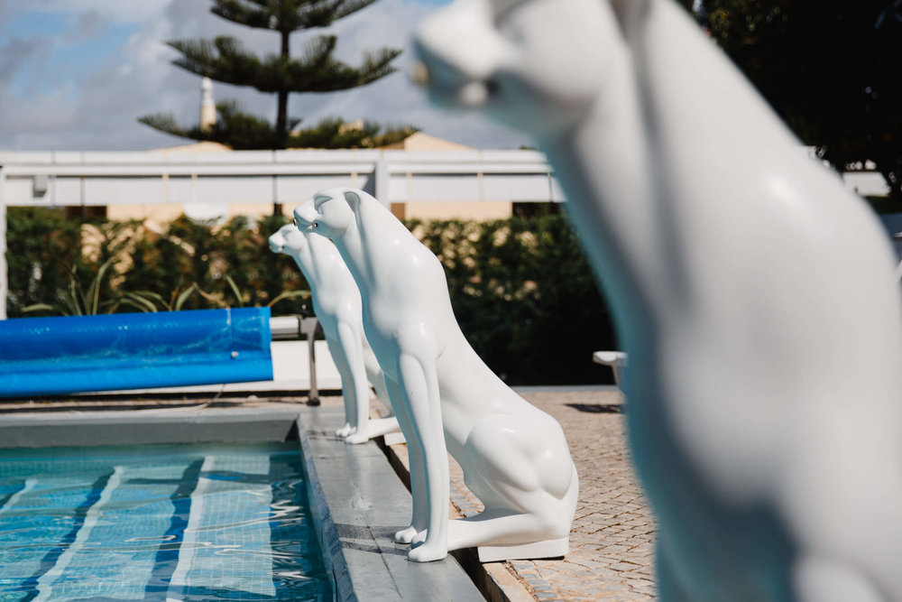 three white panther statues next to pool