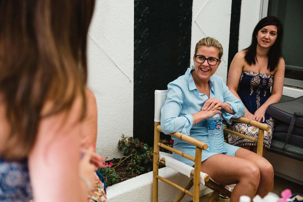 bridesmaids laughing in high spirits